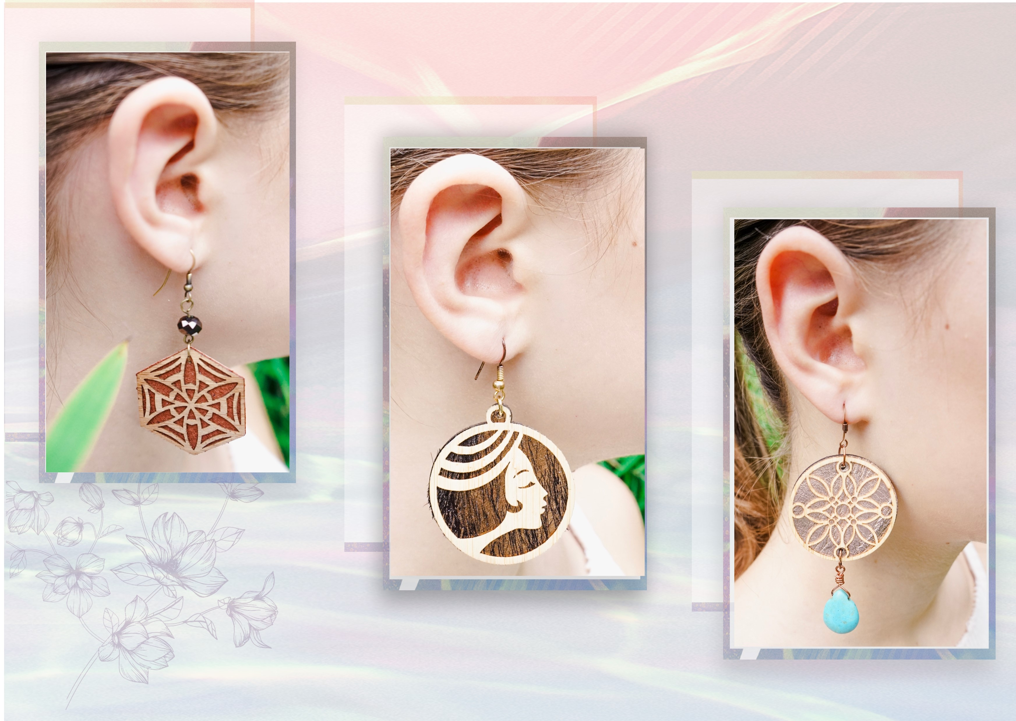 Ohrringe 'Geisha' aus Bambus und Leder